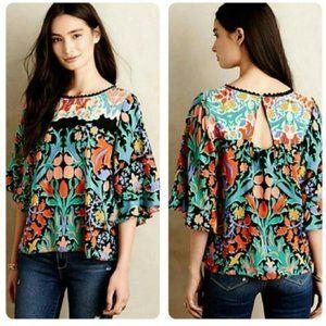 Maeve Silk Floral Blouse 00 XXS